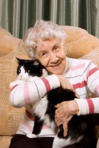 Bejaarde vrouw met kat op schoot